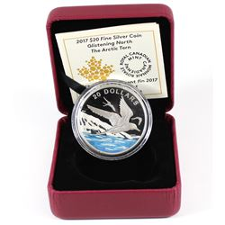 2017 Canada $20 Glistening North - Arctic Tern Fine Silver (No Tax). Coin comes encapsulated with di