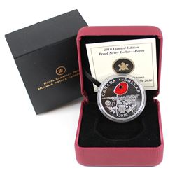 2010 Canada Limited Edition Poppy Proof Silver Dollar (capsule is lightly scratched)