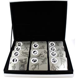 12x 1998-2000 Canada 50-cent Sports Series Proof Sterling Silver Coins in Original Silver Deluxe Dis