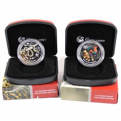 2013 Australia Year of the Snake (outer box has a tear) & 2017 Year of the Rooster Fine Silver Colou