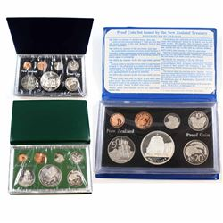 1977, 1978 & 1980 New Zealand 7-coin Proof Sets with Sterling Silver Dollar Coins (1977 plastic case