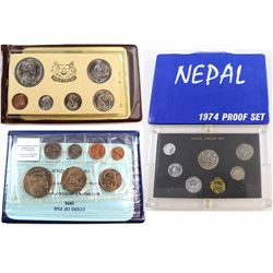 Lot of 3x Uncirculated World Coin Sets - 1974 Nepal 7-coin Proof Set (sleeve torn), 1975 Singapore Y