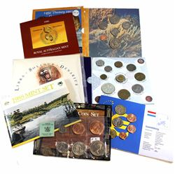 Lot of 9x Uncirculated World Coin Sets - 1966-67 UK Pounds Shillings and Pence 8-coin Set, 1997 Hung