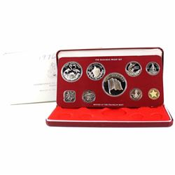 1976 Commonwealth of the Bahamas 9-coin Proof Set with Sterling Silver $5, $2 and .800 Silver $1, 50