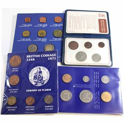Lot of 4x World Coin Sets. You will receive Britain's first decimal coins 5-coin, British coinage 15