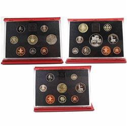1994-1996 United Kingdom Proof Coin Collections in Original Hard Red Folders with COAs. 3pcs