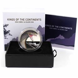 2016 Niue $2 Kings of the Continents King Cobra 1oz Fine Silver Coin (Lightly toned around rim) (Tax