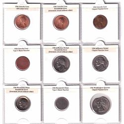 USA 9x Error Coin Collection in Black Folder with Page Describing the Errors. There are Off-centre,