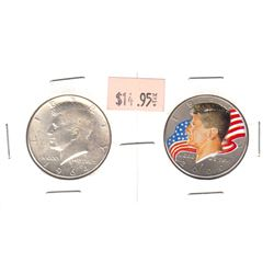 1964 & 2000 USA Half Dollars. The 2000 coin is coloured and Commemorates JFK. 2pcs