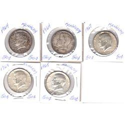 Lot of 1964-1967 USA Kennedy Half Dollars - 2x 1964, 1967 & 2x 1968. 5pcs