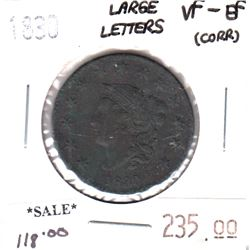 1830 Large Letters USA Cent VF-EF (VF-30) corrosion