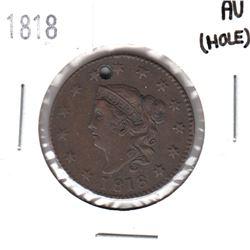 1818 USA 1-cent AU (Hole)