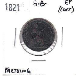 1821 Great Britain Farthing Extra Fine (Corrosion)