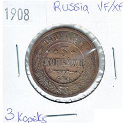 1908 Russia 3 Kopeks VF-EF