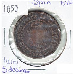 1850 Spain 1/2 Real 5 Decimos F-VF