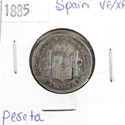 1885 Spain 1 Peseta VF-EF