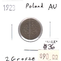 Poland 1923 2 Grosze Almost Uncirculated (AU-50)