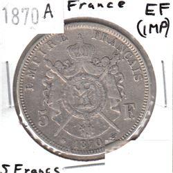 1870A France 5 Francs EF (impaired)
