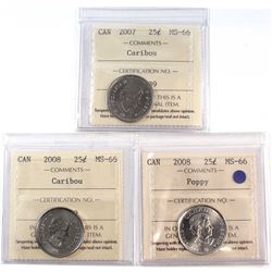 2007, 2008 & 2008 Poppy Canada 25-cent ICCS Certified MS-66. 3pcs