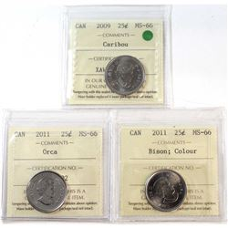 2009,2011 Orca & 2011 Coloured Bison Canada 25-cent ICCS Certified MS-66. 3pcs