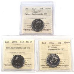 2000 Pride Colour , 2000 Freedom  2000 Family Canada 25-cents ICCS Certified MS-66 NBU. 3pcs