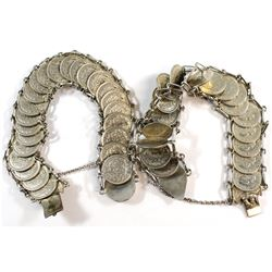 Pair of Silver Custom Made Netherlands 10-cent Coin Bracelets. One bracelet contains 22 coins and th