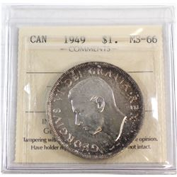 1949 Canada Silver $1 ICCS Certified MS-66