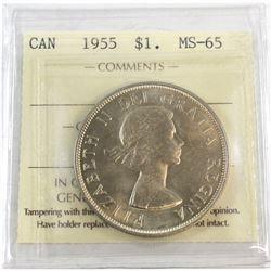 1955 Canada Silver $1 ICCS Certified MS-65