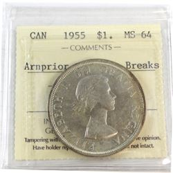 1955 Canada Silver $1 Arnprior with Die Breaks ICCS Certified MS-64