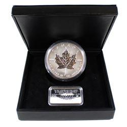 1988-1998 Canada 10oz. .9999 Fine Silver 10th Anniversary Maple Leaf Coin with Sterling Silver Certi