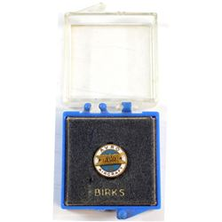 RARE! Avro Aircraft 10 Years of Service 10k Gold Enameled Pin Made by Birks in Original Birks Plasti
