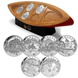 2015 $10 Canoe Across Canada 6-coin Set with Canoe Shaped Box and Stand (capsules are scratched) TAX