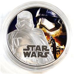 2016 Niue $2 Captain Phasma 1oz Fine Silver Proof Coin (Tax Exempt). Coin comes encapsulated.
