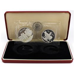 874-1974 Iceland 1100th Anniversary of Settlement 2-coin Sterling Silver Commemorative Set. Coins co