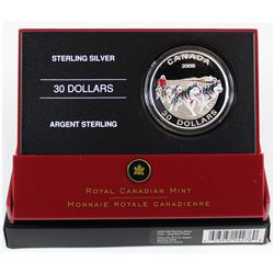 2006 Canada $30 Dog Sled Team Sterling Silver Coin (light toning)