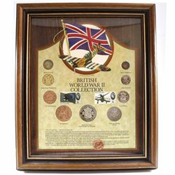 British World War II 9-coin Collection with 2 Stamps in Nice Wooden Frame. Features a Bronze Farthin