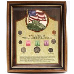 United States World War II 7-coin Collection with 3 Stamps in Nice Wooden Frame. Features a Nickel-p
