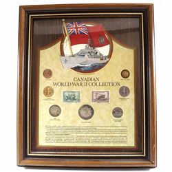 Canadian World War II 7-coin Collection with 2 Stamps in Nice Wooden Frame. Features a 1-cent, Nicke