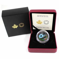 2017 Canada $20 Under the Sea - Sea Turtle Fine Silver Coin with Murrini Glass Element (Tax Exempt).