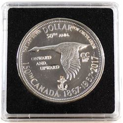 1867-1967-2017 Canada 'Onward and Upward' Anchor Counter-Stamped Silver Dollar Commemorating the 150