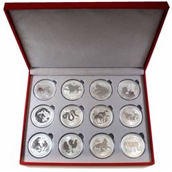 2008-2019 Australia 1oz .999 Fine Silver Lunar Series II 12-coin Set in Deluxe Red Display Box (some