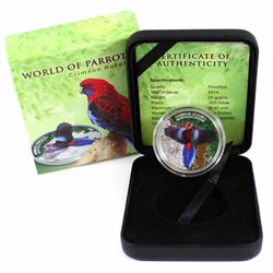 2014 Cook Islands $5 World of Parrots - Crimson Rosella 3D Effect Sterling Silver Coin. The bird tha