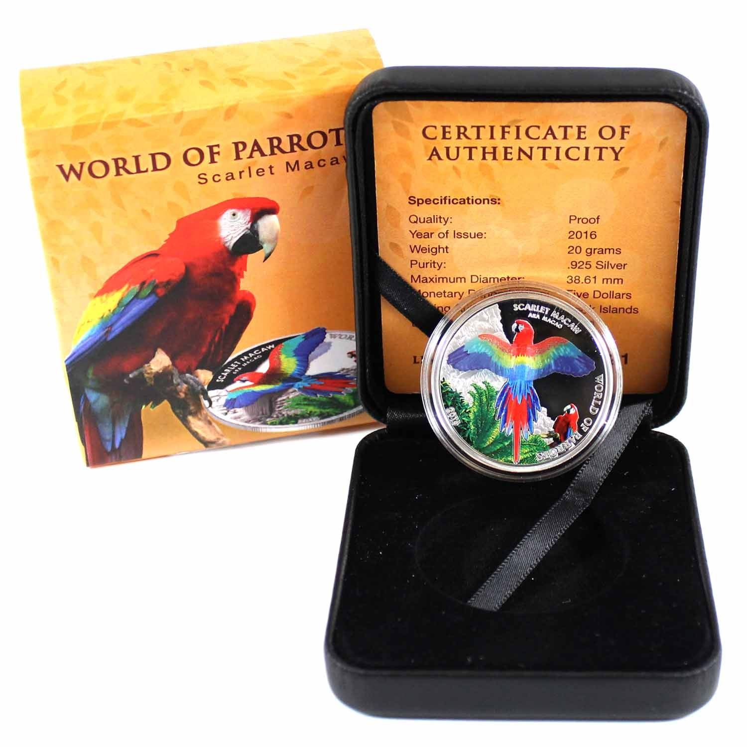 Scarlet Macaw 2016 Cook Islands $5 Silver Proof 3D World of Parrots