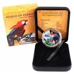 2016 Cook Islands $5 World of Parrots - Scarlet Macaw 3D Effect Sterling Silver Coin. The bird that