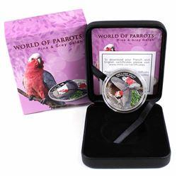 2017 Cook Islands $5 World of Parrots - Pink & Grey Galah 3D Effect Sterling Silver Coin. The bird t