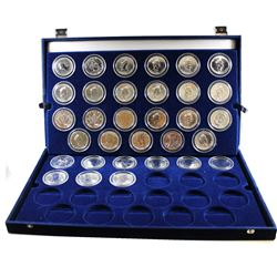 1988-2016 Canada $5 1oz Fine Silver Maple Leafs Encapsulated in Large Blue Display Case with Sleeve.