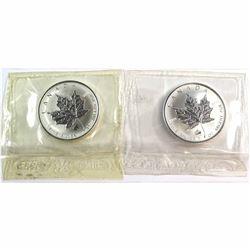 1998 Titanic & 1999 Rabbit Canada 1oz .9999 Fine Silver Privy Maple Leafs Sealed in Original Pliofil