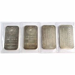 Lot of 4x Engelhard 1oz .999 Fine Silver Bars - 2x of each design. 2pcs