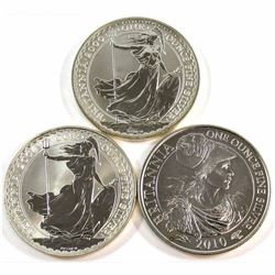2000, 2004 & 2010 Great Britain 1oz .999 Fine Silver Britannia's (coins may be lightly toned). 3pcs