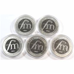 Lot of 5x 2010 First Majestic Silver Corp. 1oz .999 Fine Silver Rounds in Capsules (some coins light